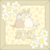Retro card with cartoon sheep and goat for. Christmas and New Year 2015, symbol of a Chinese zodiac. Vector illustration Royalty Free Stock Images