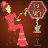 Retro card cartoon woman drink tea. Vintage hand drawn cafe poster tea party Stock Images