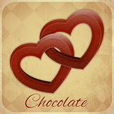 Retro Card with Chocolate Hearts Stock Photo