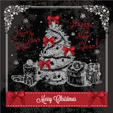 Retro card with christmas tree 1 Royalty Free Stock Images