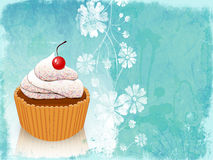 Retro card with cupcake Royalty Free Stock Photography