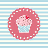 Retro card with cupcake. Valentines card with cupcake and heart decoration Stock Images
