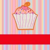 Retro card with cupcake. EPS 8 Stock Image