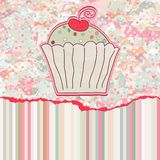 Retro card with cupcake. EPS 8 Royalty Free Stock Photos