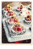 Retro Card with Fir Tree Toys in Baking Sheet. Funny Christmas Stock Photos