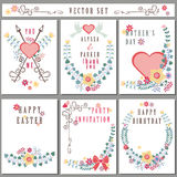 Retro card with floral decor.Cute Holiday set Royalty Free Stock Images