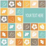 Retro card with flowers in colored squares Stock Photo