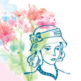 Retro card with girl in hat and floral background - watercolor s Royalty Free Stock Photos