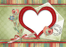 Retro card with heart Stock Images