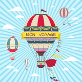 Retro card with hot air balloon. Vintage bon voyage poster Stock Photography
