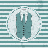 Retro card male waistcoat and tie royalty free illustration