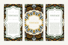 Retro card with mandala. Vintage background with place for text. Graphic template for your design. decorative ornament. Royalty Free Stock Photography