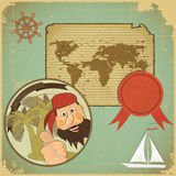 Retro card - pirate and world map Stock Images