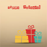 Retro card with presents, teal, yellow, red Stock Photography