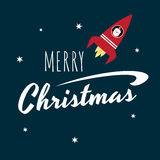 Retro card Santa in a rocket. Vector retro styled greeting card with a text Merry Christmas and Santa Claus flying in a red space rocket. Square format, white Stock Image