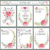 Retro card set with floral decor.Cute Holiday Royalty Free Stock Photos