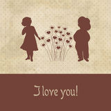 Retro card with silhouette of two cute babies on the grunge paper background Stock Photography