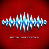 Retro card with sound waveform. Retro card with 3D sound waveform and shadow Stock Photos