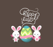 Retro card with striped easter eggs and bunny Stock Image