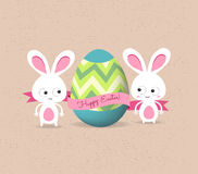 Retro card with striped easter eggs and bunny Royalty Free Stock Photos