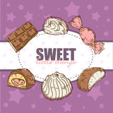 Retro card with tasty sweets Royalty Free Stock Photography