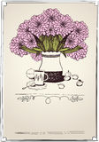 Retro card with tea, apricot and bouquet of chrysa Royalty Free Stock Photography
