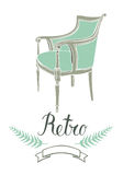 Retro card with vintage armchair Royalty Free Stock Photo