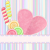 Retro Card With Lollipops Royalty Free Stock Photos