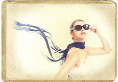 Retro card young woman Royalty Free Stock Photography