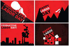 Retro cards for the Labor Day Stock Photos