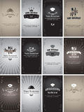 Retro cards. Set of business cards on the theme of food and drinks in style Black and white film Royalty Free Stock Photo