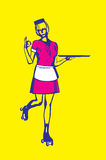Retro Carhop Waitress Holding Empty Tray Royalty Free Stock Photo