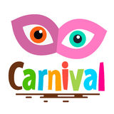 Retro Carnival Symbol. Retro Carnival Icon with Mask and Eyes Royalty Free Stock Photo