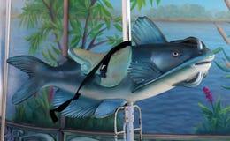 Retro carousel catfish ride old school ride for kids at Detroit riverside walk Royalty Free Stock Photography