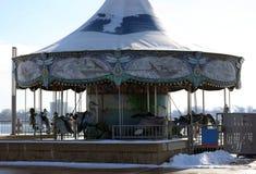 Retro carousel ride old school ride for kids at Detroit riverside walk Stock Image