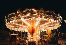 Retro carousel at deep night in winter Stock Images