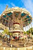 Retro carousel and Eiffel Tower Royalty Free Stock Photo