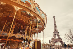 Retro carousel in Paris Royalty Free Stock Images