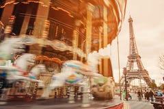 Retro carousel in Paris Royalty Free Stock Images