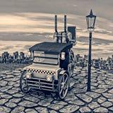 Retro Carrozza-taxi del vapore illustrazione vettoriale