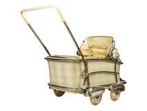 Retro carrozzina del bambino isolata su bianco Fotografia Stock
