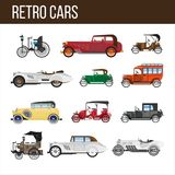 Retro cars with amazing vintage design illlustrations set. Retro cars with amazing vintage design  cartoon flat vector illustrations set on white background. Old Stock Images