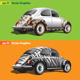 Retro Cars with Animal Print stock illustration