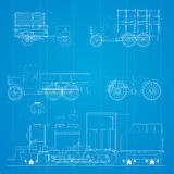 Retro cars blueprint Stock Photos
