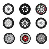 Retro cars classic and sport cars wheel set. Vector  illustration Stock Photography
