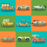 Retro cars and collector autos vector flat set Stock Photography