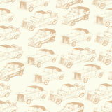 Retro cars in doodles style Royalty Free Stock Images