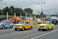 Retro cars at First Moscow Parade of City Transport Royalty Free Stock Photography