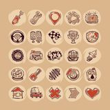 Retro Cars Icons Set. In the EPS file, each element is grouped separately. Clipping paths included in additional jpg format Royalty Free Stock Images