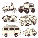 Retro cars icons set Stock Photography
